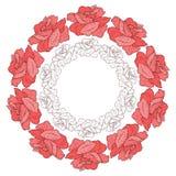 Wianek z różami. Kwiecisty tło. Obraz Royalty Free