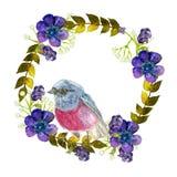 Wianek z różowym ptakiem Obrazy Royalty Free