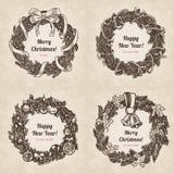 Wianku Bożenarodzeniowego nowego roku rytownictwa stylu handdrawn szablon ilustracji