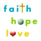 Wiara, Nadzieja, Miłość Obrazy Royalty Free