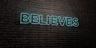 WIARY - Realistyczny Neonowy znak na ściana z cegieł tle - 3D odpłacający się królewskość bezpłatny akcyjny wizerunek ilustracji