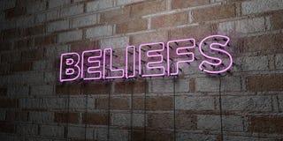 WIARY - Rozjarzony Neonowy znak na kamieniarki ścianie - 3D odpłacająca się królewskości bezpłatna akcyjna ilustracja royalty ilustracja