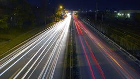 świateł noc ruch drogowy Obrazy Royalty Free