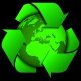 Światowa kula ziemska lub ziemia z przetwarzamy znaki Obraz Royalty Free