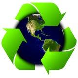 Światowa kula ziemska lub ziemia z przetwarzamy znaki Obrazy Royalty Free
