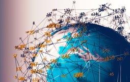 ?wiatowa mapa i komputerowi narz?dzia dla cybersecurity royalty ilustracja