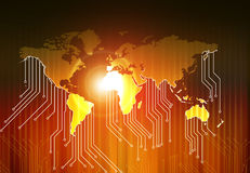 Światowa mapa i zaawansowany technicznie obwód deska Obraz Stock