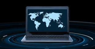 Światowa mapa na laptopu ekranie Fotografia Stock