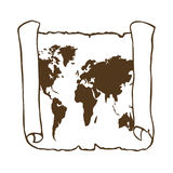 Światowa mapa na starym papirusie Zdjęcie Stock
