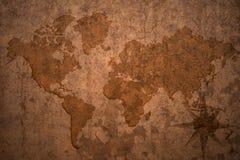 Światowa mapa na starym rocznika papieru tle Obraz Royalty Free
