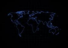 Światowa Mapa - Neonowy Kontur Fotografia Royalty Free