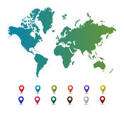 Światowa mapa z kolorowymi pointer ocenami Obrazy Stock