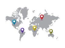 Światowa mapa z pointer ocenami Obraz Royalty Free