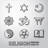 Światowa ręka rysujący religia symbole ustawiający wektor Fotografia Stock