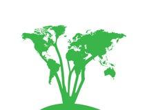 Światowej mapy Drzewny projekt ilustracji