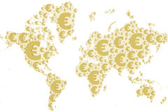 Światowej mapy euro znak Zdjęcie Royalty Free