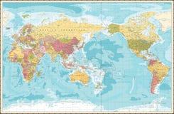 Światowej mapy rocznika kolor Pacyfik Centred fotografia stock