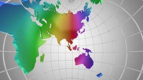 Światowej mapy zwroty w kulę ziemską Spojrzenie inside zdjęcie wideo