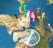 światowi map szklani target2312_0_ ludzie Fotografia Stock