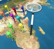 światowi map szklani target3496_0_ ludzie Obrazy Stock