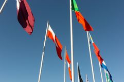 Światowy flaga pokazu widok spod spodu fotografia royalty free