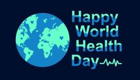 Światowych zdrowie dnia kartki z pozdrowieniami szablon z wizerunkami ziemia ilustracji