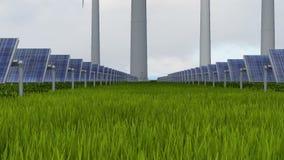 Wiatr i słoneczny gospodarstwo rolne przy dniem zbiory wideo