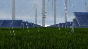 Wiatr i słoneczny latanie przy deszczem gospodarstwa rolnego i helikopteru zdjęcie wideo
