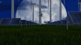 Wiatr i słoneczny latanie przy nocą gospodarstwa rolnego i helikopteru zbiory wideo