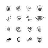 Wiatr, ruch wektorowe ikony ustawiać ilustracji