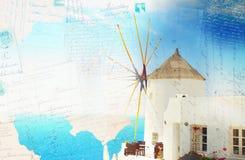 Wiatraczek Oia, Santorini zdjęcie stock
