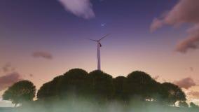 Wiatraczek władzy generatoru ontop wzgórze zakrywający z drzewami, przeciw głębokiemu niebieskiemu niebu rendering ilustracja wektor