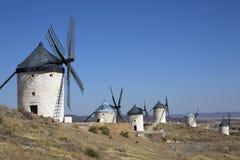 Wiatraczki przy Consuegra Hiszpania - Los Angeles Mancha - Zdjęcia Stock