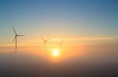 Wiatraczki przy wschód słońca fotografia stock