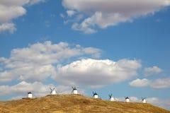 Wiatraczki w losie angeles Mancha, Hiszpania Zdjęcie Royalty Free