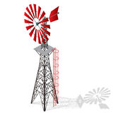 Wiatrowa pompa dla pompować woda na gospodarstwie rolnym Domowa siły wiatru roślina dla wytwarzania siły Obrazy Royalty Free