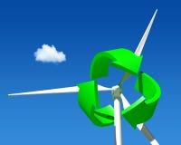 Wiatrowego generatoru turbina nad niebieskim niebem. ilustracja wektor