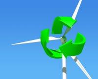 Wiatrowego generatoru turbina nad niebieskim niebem. royalty ilustracja