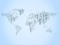 Wiatrowej energii mapa Zdjęcia Royalty Free