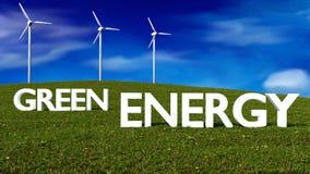 Wiatrowi generatory na łące - zielony energetyczny pojęcie Obraz Royalty Free