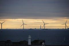 Wiatrowi generatory w morzu Obrazy Royalty Free
