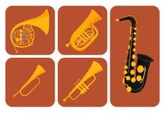Wiatrowi instrumenty muzyczni gręplują narzędzie muzyka wyposażenia orkiestry wektoru akustyczną ilustrację ilustracja wektor