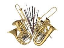 Wiatrowi instrumenty muzyczni odizolowywający na bielu Obraz Royalty Free