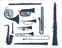 Wiatrowi instrumenty muzyczni wytłaczają wzory akustyczną muzyka wyposażenia orkiestry wektoru ilustrację ilustracja wektor