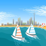 Wiatrowi jachty na plaży Obraz Stock
