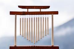 Wiatrowy chime z drewnianym poparciem obrazy royalty free