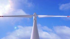 Wiatrowy generator na tle pogodny niebo ilustracja wektor