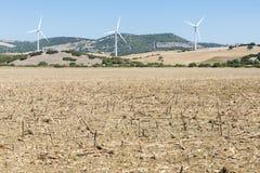 Wiatrowy gospodarstwo rolne w Hiszpania Obraz Stock
