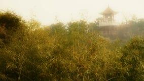Wiatrowy potrząsalny bambus, pawilon na wzgórzu w odległości, Mgławy styl zbiory