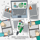 Wibinar, web conference concept icon thin line for web and mobil Royalty Free Stock Images